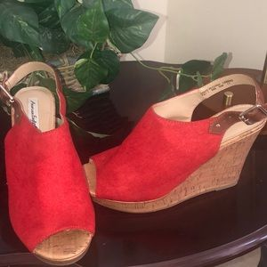 American Eagle Red Suede Cork Wedge Heel Size 10